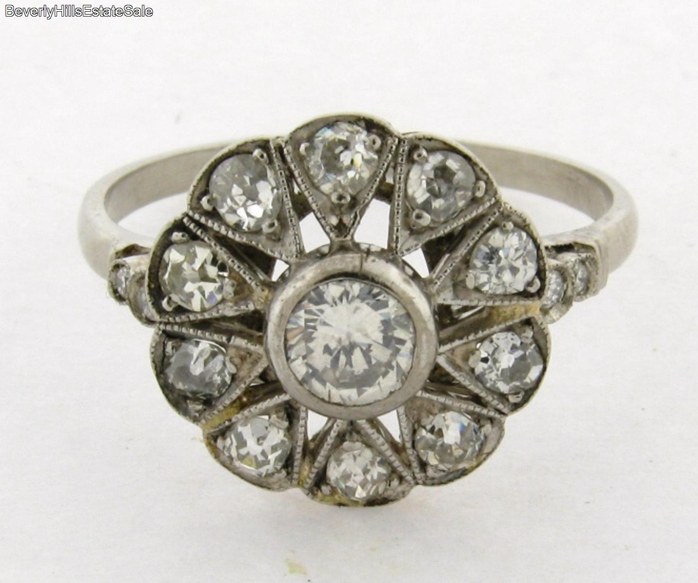 antique deco platinum flower design ring ebay