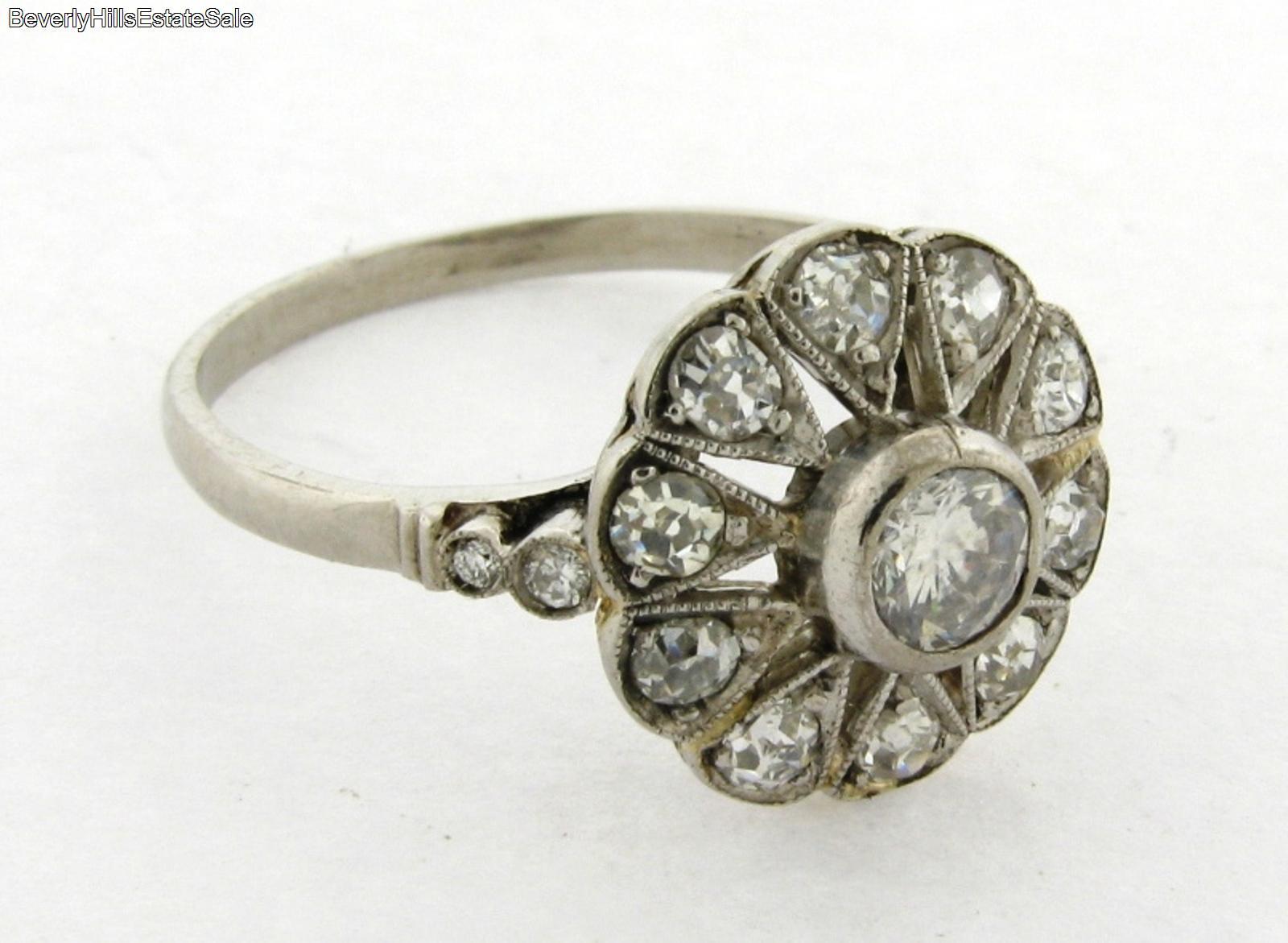 antique deco platinum flower design ring