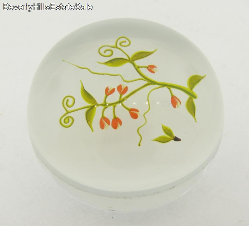 Beautiful-Rare-Limited-Edition-Paul-Stankard-Art-Glass-Floral-Paperweight