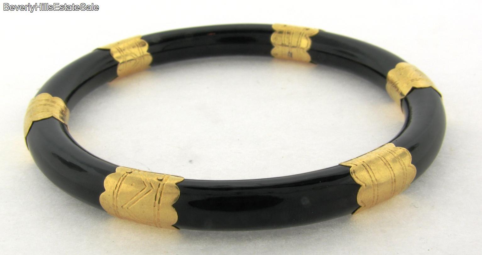 vintage 18k yellow gold black onyx bangle bracelet ebay. Black Bedroom Furniture Sets. Home Design Ideas