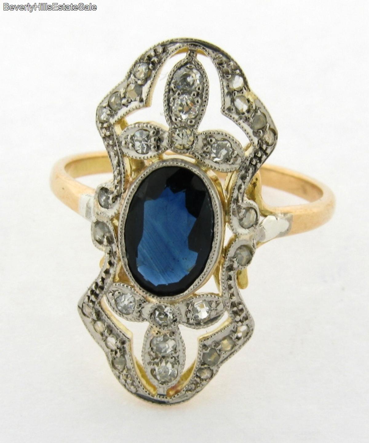vintage 1 carat sapphire diamond 18k yellow gold ring ebay. Black Bedroom Furniture Sets. Home Design Ideas