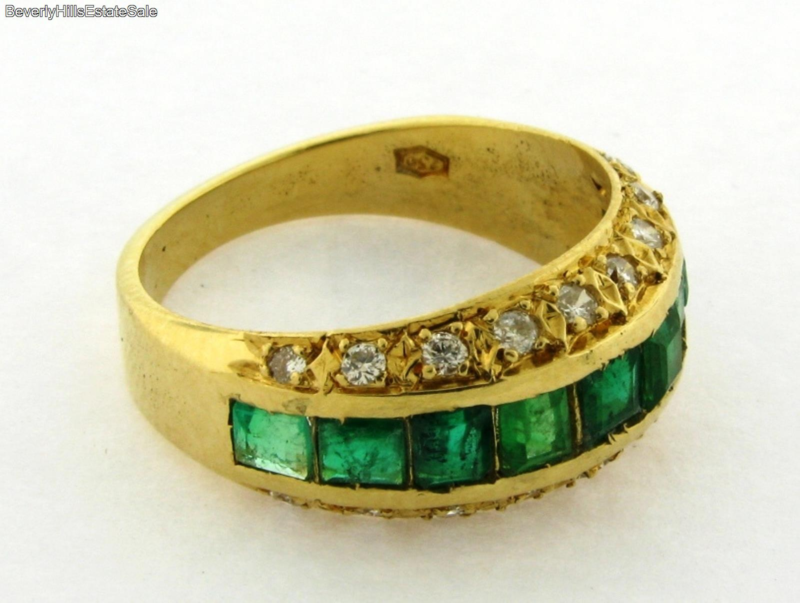 retro vintage emerald 18k yellow gold ring ebay