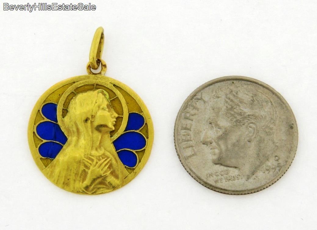 Antique French Art Nouveau Plique A Jour Religious 18K Yellow Gold Pendant  ...